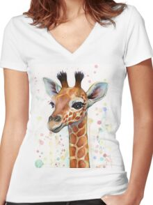 Baby Giraffe Watercolor Painting, Nursery Art Women's Fitted V-Neck T-Shirt