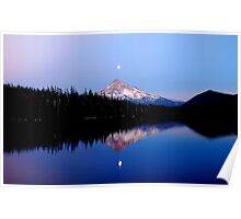 Moonrise over Mt. Hood, Oregon, USA Poster
