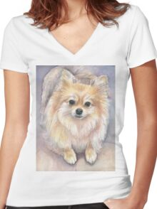 Pomeranian Watercolor Women's Fitted V-Neck T-Shirt