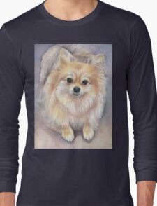 Pomeranian Watercolor Long Sleeve T-Shirt