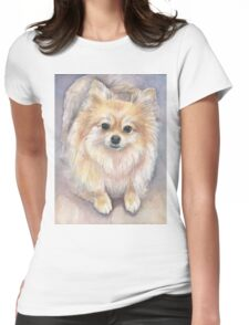 Pomeranian Watercolor Womens Fitted T-Shirt