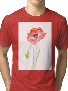 Red Poppy Watercolor Floral Painting  Tri-blend T-Shirt