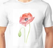 Red Poppy Watercolor Floral Painting  Unisex T-Shirt