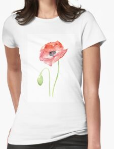 Red Poppy Watercolor Floral Painting  Womens Fitted T-Shirt