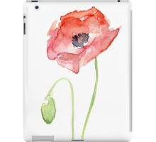Red Poppy Watercolor Floral Painting  iPad Case/Skin