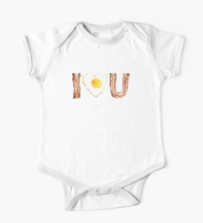 I Love Bacon and Egg Whimsical Watercolor Illustration One Piece - Short Sleeve