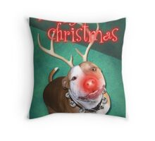 Boodolph - The Red-Nosed Pit Bull Throw Pillow
