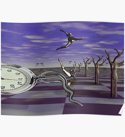 Ballet on time chessboard Poster