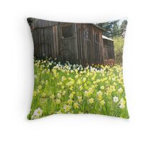 A barn in daffodil hill Throw Pillow