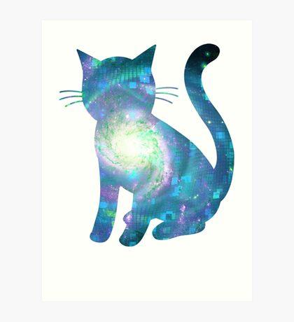 Electric Galaxy | Fractal Space Kitty Art Print