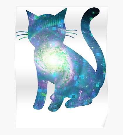 Electric Galaxy   Fractal Space Kitty Poster