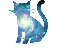 Electric Galaxy | Fractal Space Kitty Photographic Print