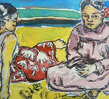ACEO Paul Gauguin's 2 tahitian women by christine purtle