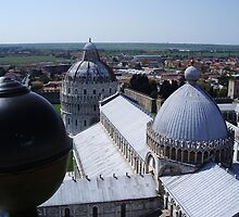 View of the Dom from the Tower of Pisa by Lael Woodham