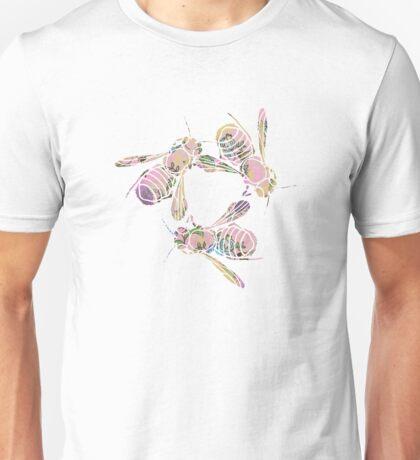 Bees and Blooms II: Watercolor illustrated honeybee & flower print Unisex T-Shirt