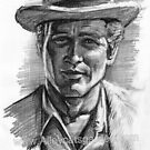 Paul Newman charcoal by Alleycatsgarden