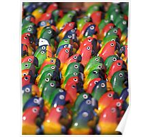 Brightly Coloured Balsa-wood Models of Parrots, Ecuador   Poster