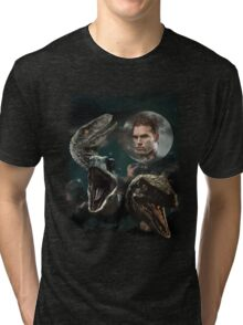 Three Raptors and a Pratt Tri-blend T-Shirt