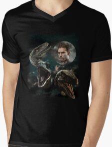 Three Raptors and a Pratt Mens V-Neck T-Shirt