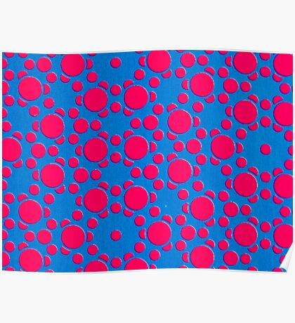 Silicon Atoms Red Blue CU Poster