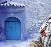 Man in Streets of Chefchaouen Medina, Morocco  by Petr Svarc