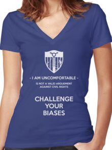 Challenge Your Biases Women's Fitted V-Neck T-Shirt