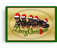 Merry Christmas Rottweiler Puppies Greeting Card Canvas Print