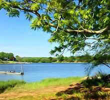 Painterly Landscape and Riverscape of a Mystic River Dock by VisionQuestArts