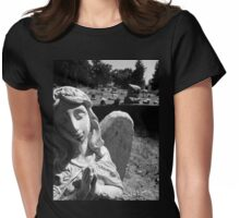 Silent Angel, Black and White Womens Fitted T-Shirt