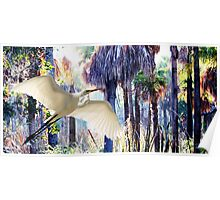 """Wetland Wonderland"" Greater Egret Poster"