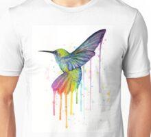 Hummingbird Watercolor Rainbow Unisex T-Shirt