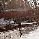 Sawyers Crossing Covered Bridge in Winter by TonyCrehan