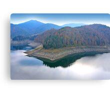 Blue mirror lake. Canvas Print