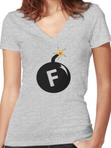F Bomb  Women's Fitted V-Neck T-Shirt