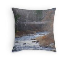 Suspention Bridge over the Aminusic River in Lttleton NH Throw Pillow