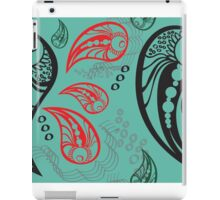 Aqua Red Black Tattoo Paisley iPad Case/Skin
