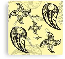 Yellow Flower Tattoo Paisley Canvas Print