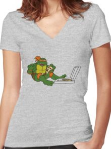 TMNT - Michelangelo with Pizza Women's Fitted V-Neck T-Shirt