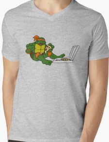 TMNT - Michelangelo with Pizza Mens V-Neck T-Shirt