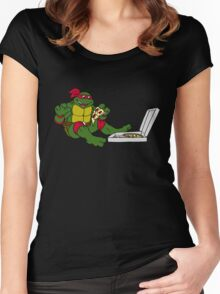 TMNT - Raphael with Pizza Women's Fitted Scoop T-Shirt