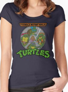 TMNT - Sewer Lid Four Turtles with Splinter  Women's Fitted Scoop T-Shirt