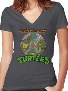 TMNT - Sewer Lid Four Turtles with Splinter  Women's Fitted V-Neck T-Shirt