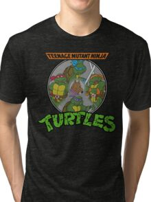 TMNT - Sewer Lid Four Turtles with Splinter  Tri-blend T-Shirt
