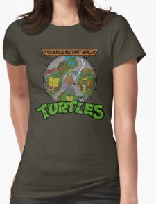 TMNT - Sewer Lid Four Turtles with Splinter  Womens Fitted T-Shirt