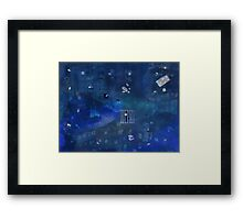 Spaced out in blue Framed Print