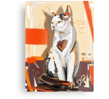 Cat big heart Metal Print