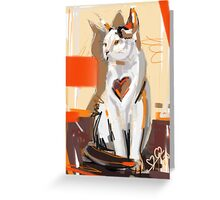 Cat big heart Greeting Card
