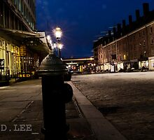South Street Seaport at Night by Donald Lee