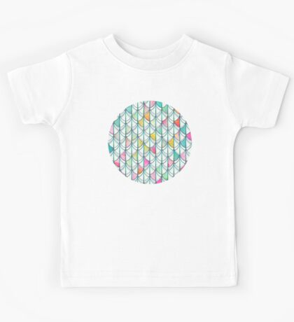 Pencil & Paint Fish Scale Cutout Pattern - white, teal, yellow & pink Kids Tee