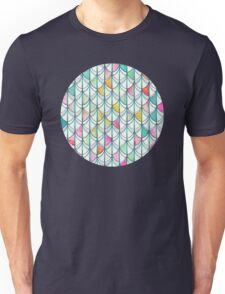 Pencil & Paint Fish Scale Cutout Pattern - white, teal, yellow & pink Unisex T-Shirt